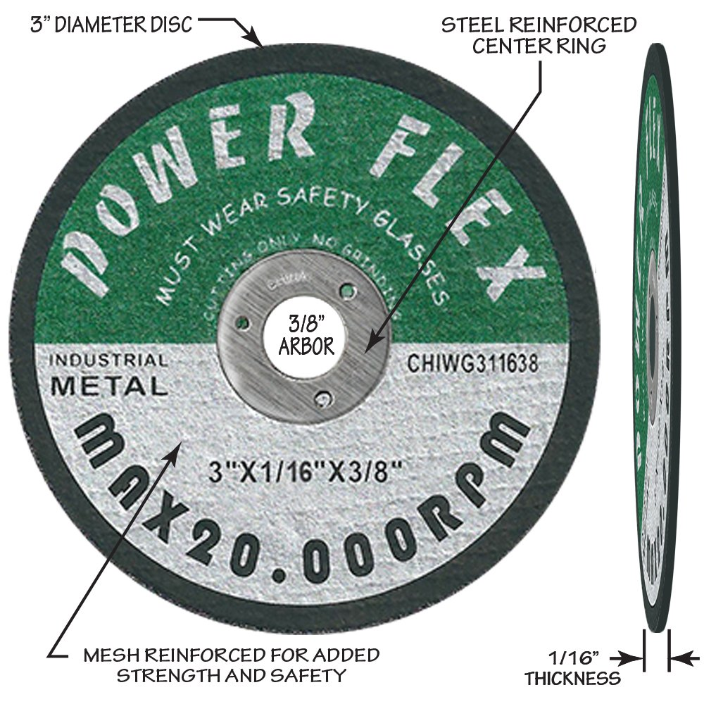 For Cutting All Steel and Ferrous Metals OCM 20 PACK CUT OFF WHEELS 3 x 1//16 x 3//8