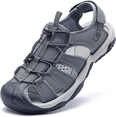 Amazon.com   KIIU Mens Closed Toe Sandals Sport Hiking Sandal Athletic  Walking Sandals Fishermen Outdoor(9M Grey)   Sport Sandals & Slides