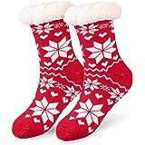 Hotelvs Calcetines de Navidad, Invierno Mujer Gruesos Lana Calcetines Térmicos de Piso Antideslizantes, Tejer Doble Lana…