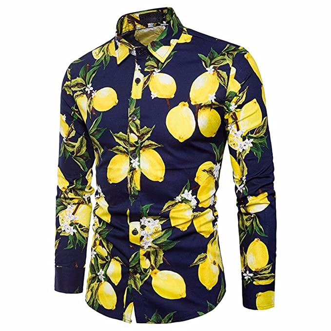 7b257c58c morecome Men s Lemon Print Shirt Long Sleeve Beach Spring Blouse at ...