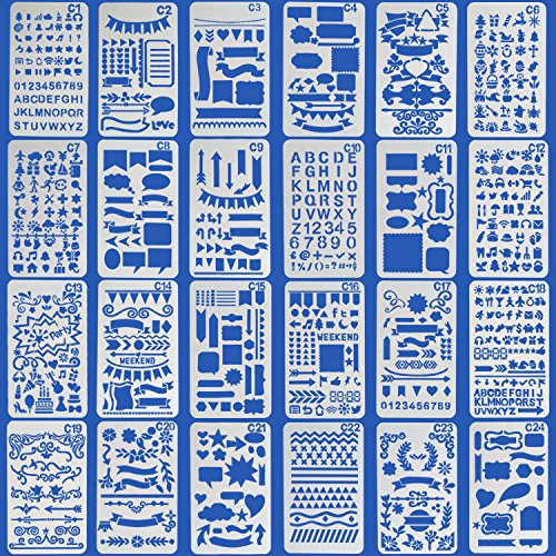 Vermogen Journal Stencil 24 Pieces, Over 1200 Patterns DIY Drawing Template Letter Stencil Painting Stencil Plastic Planner Stencils for Bullet Journal for $<!--$8.98-->