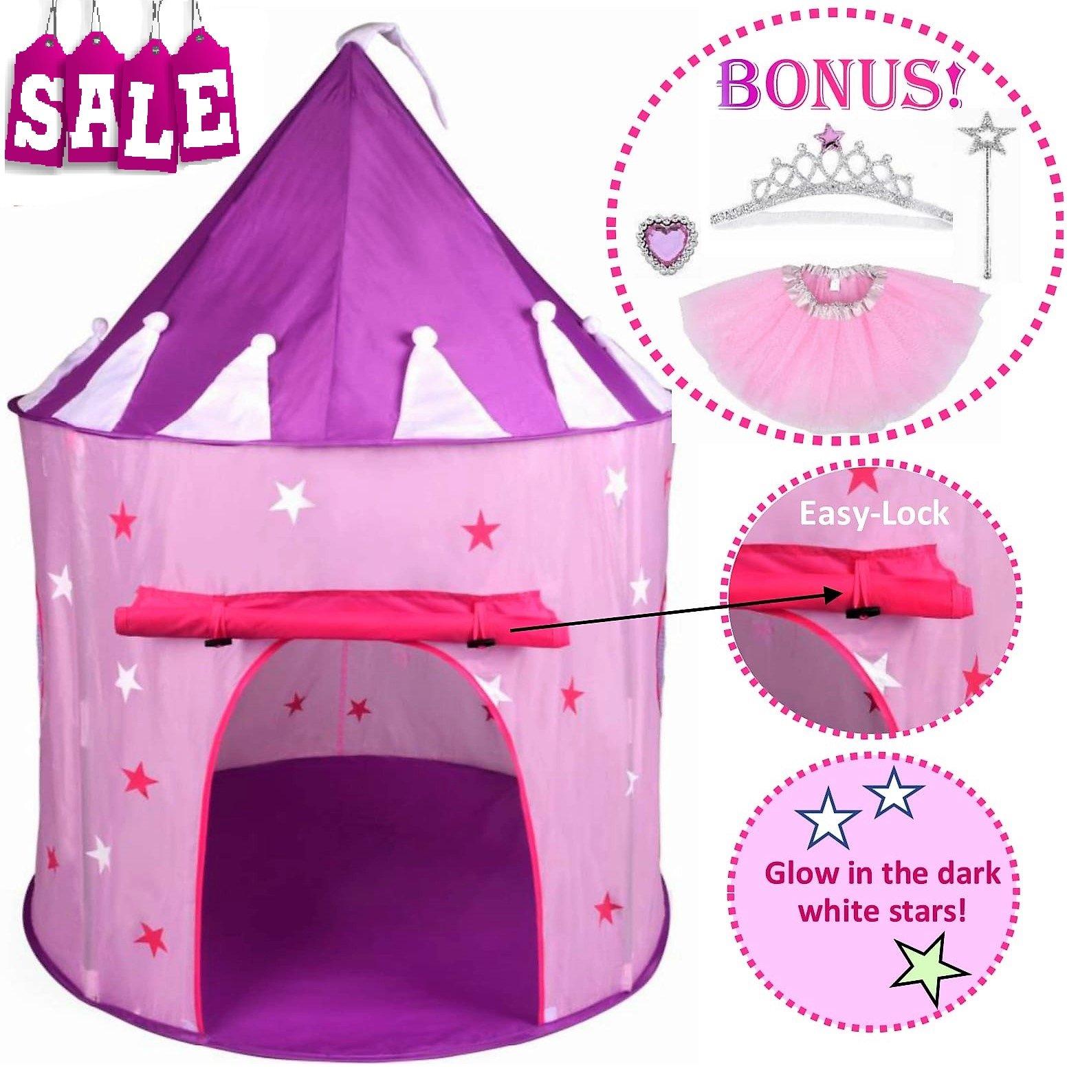 Hide N Side 5pc Princess Tent for Girls Play Tent Princess Castle w Glow in The Dark Stars. Bonus Princess Dress up Tutu Costume Set! Tent for Kids Children Princess Pink Play-House Pop Up Tent