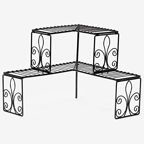BrylaneHome Scroll 2-Tier Corner Shelf, Black