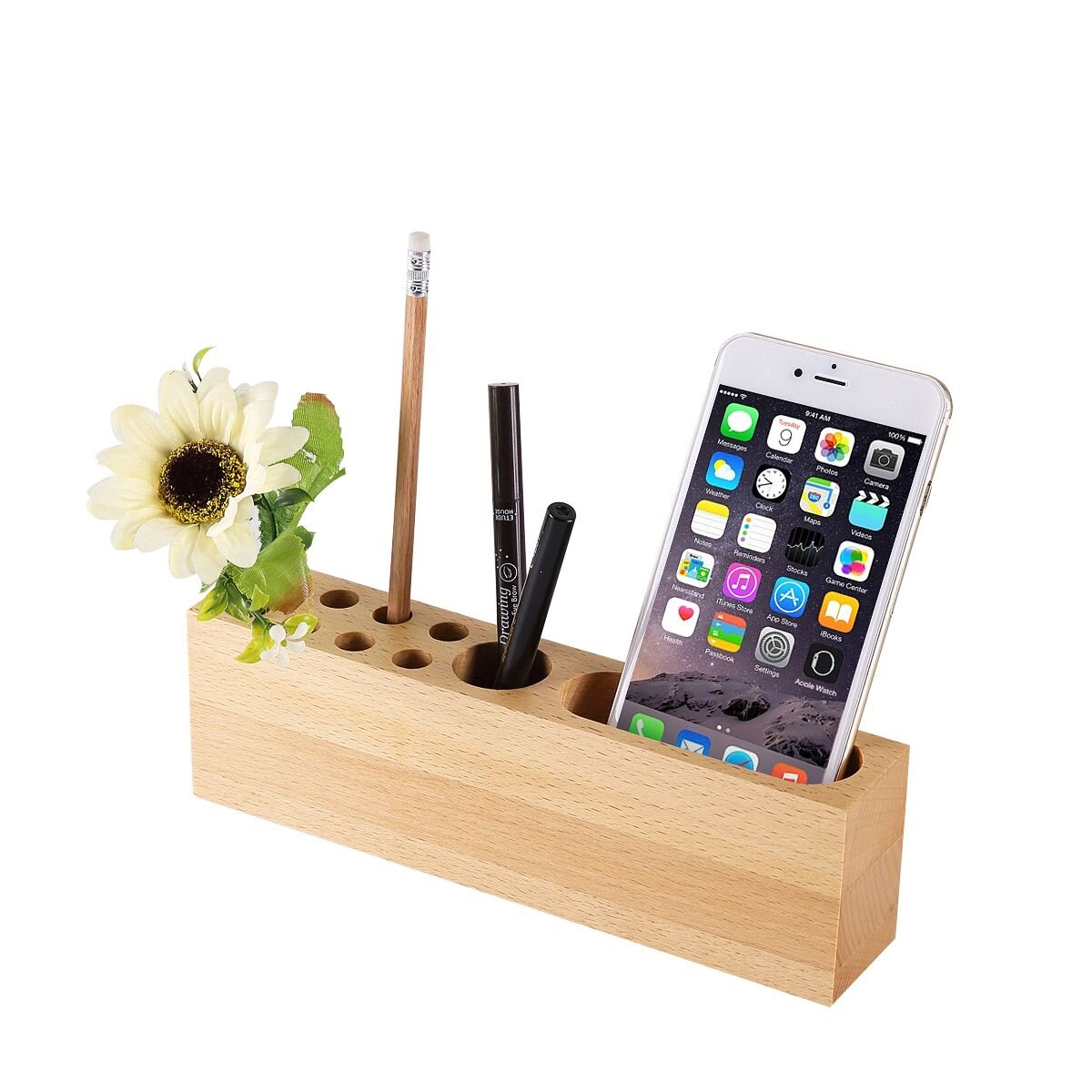 OHHOI Office Supplies Desktop Storage Box Stationery Solid Wood Pen Holders,Mobile Phone Stand Wood Pen Stand | 10 Slots Desk Organizer for Office, Living Room, Bath Room, and Kitchen by OHHOI (Image #1)