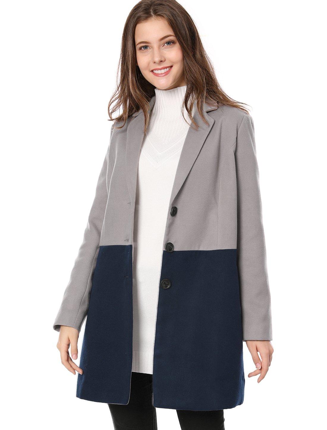 Allegra K Women's Notched Lapel Single Breasted Color Block Coat Jacket L Grey