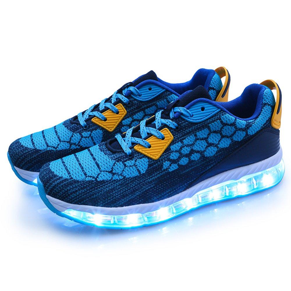AIRAVATA Men Women Adult LED Light up Sneakers USB Charging Flashing Lightweight Breathable Fashion Walking Shoes B07CVFRJW9 Women/Men-CN 39|Blue1