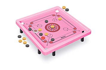 RATNAS Premium Quality Princess Plastic Carrom Board with Stand Pink Colour