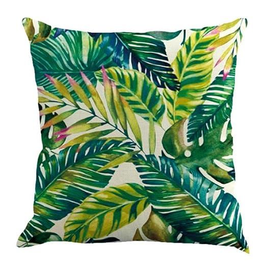 Fossrn Fundas Cojines 45x45, Tropical Floral Hojas Cuadrado Funda de Almohada Decoración del hogar (01)