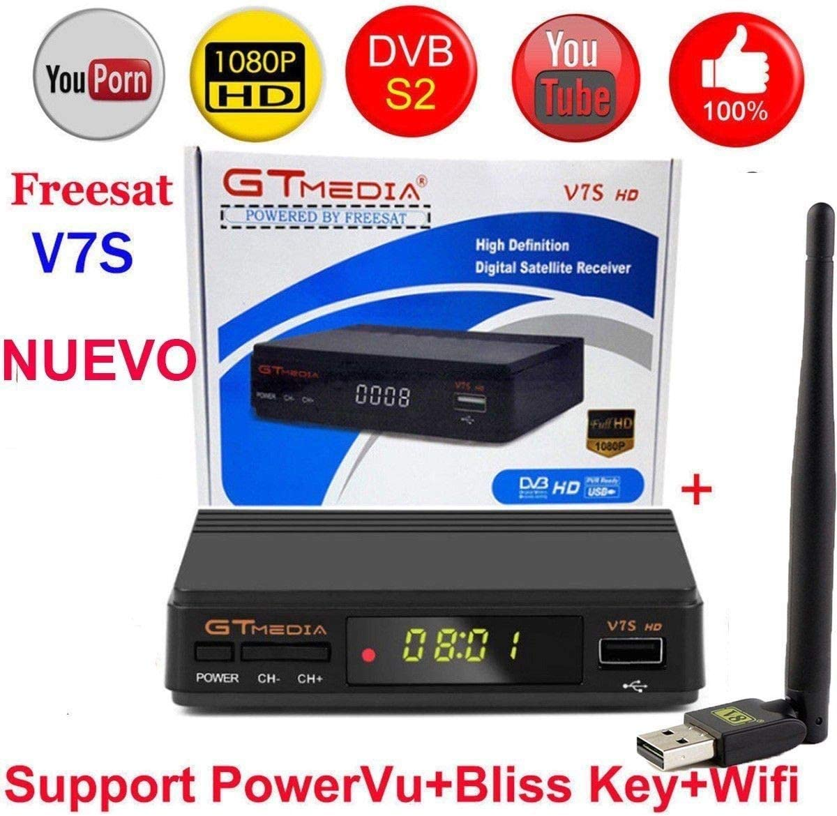 Redcolourful fre//esat V7S HD FTA Digital Satellite TV Receiver DVB-S2//S Support BissKey 1080P US Plug