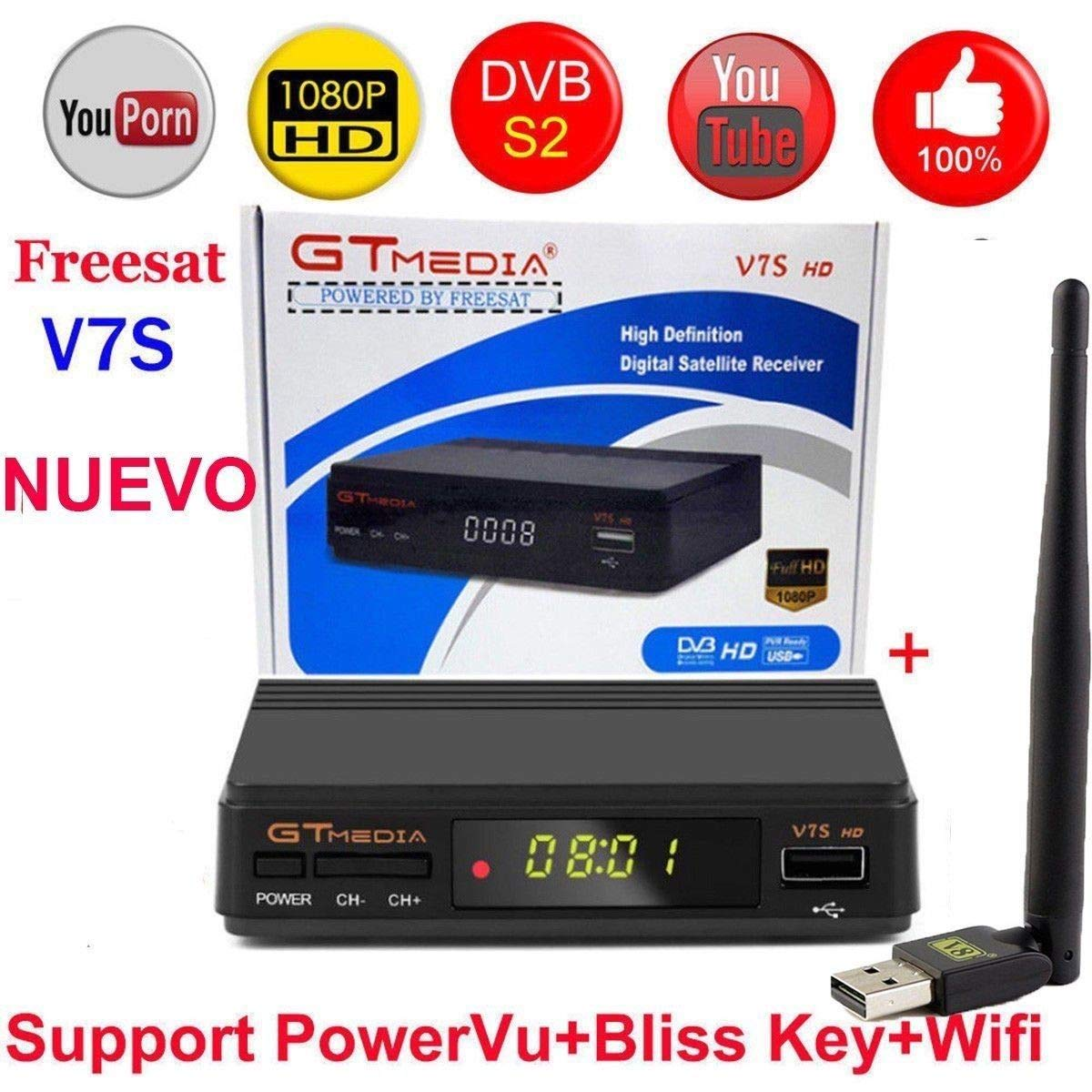 ETbotu Freesat V7S HD FTA Digital Satellite TV Receiver DVB-S2/S Support BissKey 1080P US Plug