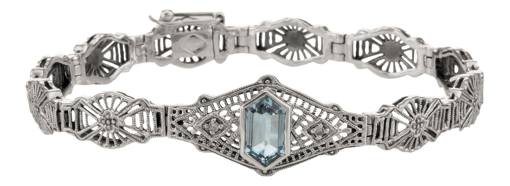 Art Deco Style Sterling Silver Blue Topaz and Diamond Filigree Bracelet