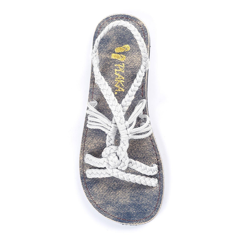 Plaka Flat Summer Sandals for Girls by White 13 Twist
