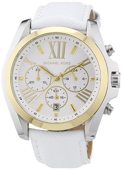 Michael Kors MK2282 - Reloj cronógrafo de cuarzo para mujer, correa de cuero color blanco: Michael Kors: Amazon.es: Relojes