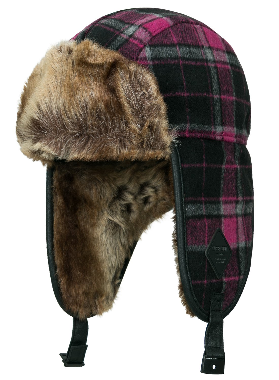 ililily Howels Plaid Pattern Aviator Trapper Trooper Faux Fur Ear Flaps Hat, Pink Plaid