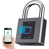 Vingerafdruk hangslot, Bluetooth Lock hangslot met mobiele APP, 1 cm hangslot Shackle Smart Lock, Unlock Record, Outdoor…