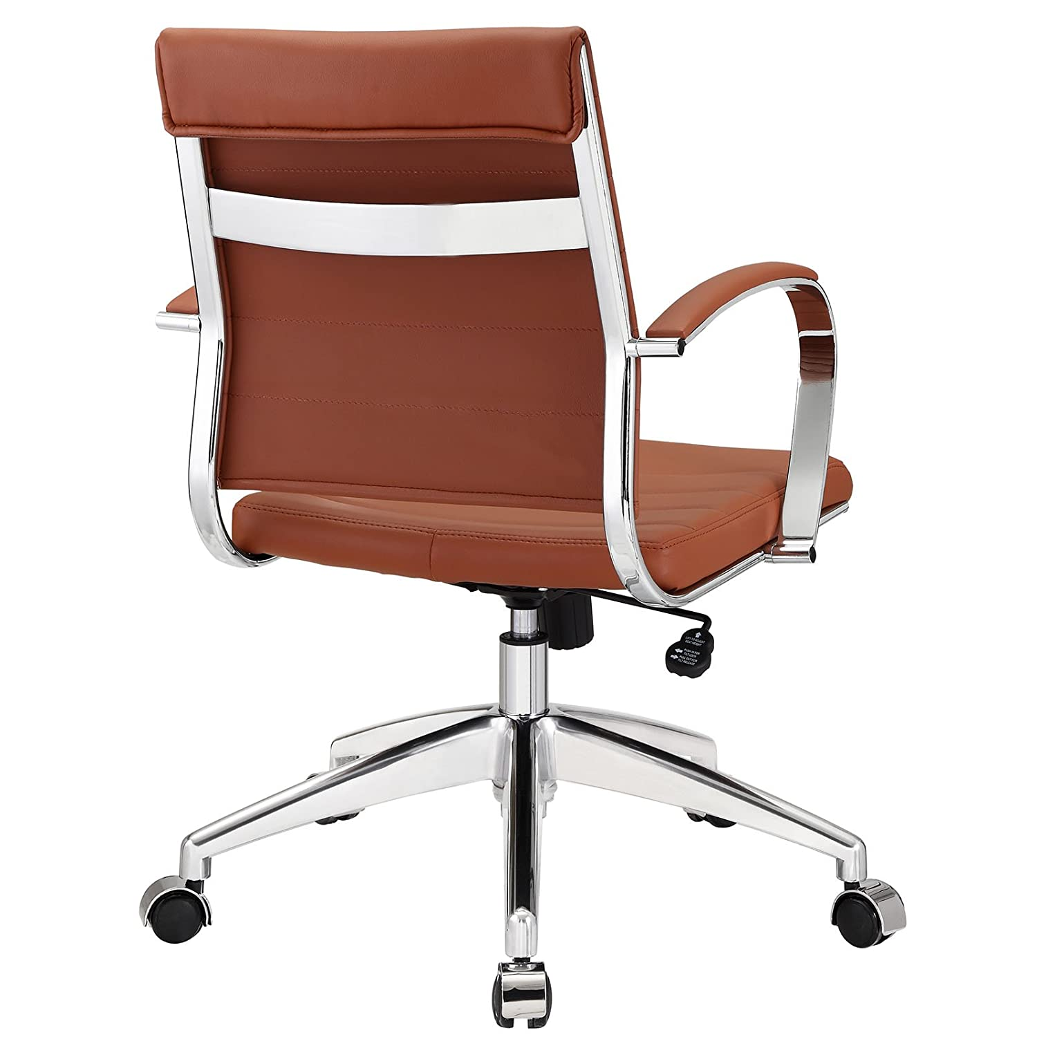Medium back office chair - Amazon Com Modway Jive Ribbed Mid Back Executive Office Chair Terracotta Vinyl Kitchen Dining