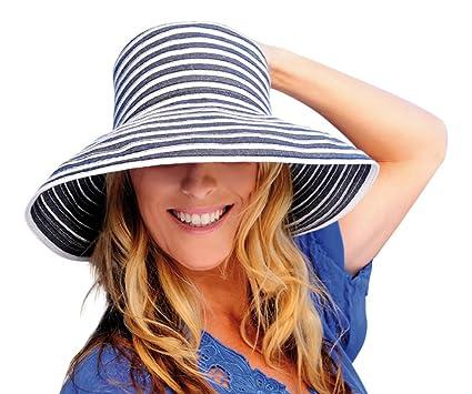 1b1e7fa00ed Upturn Universal Ladies Sun   Beach Hat (Navy   White) at Amazon ...