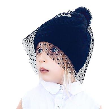 Neon Eaters Knit Beanie Hat with Veil - Black - Girls Womens Cute Fun Toque  Ski 54716ea4646