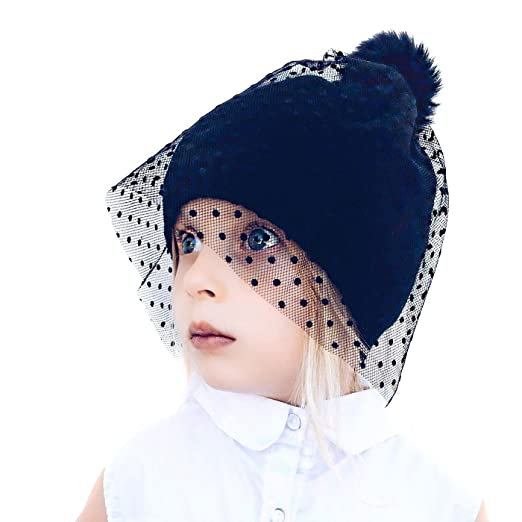 2c44309b687 Neon Eaters Knit Beanie Hat with Veil - Black - Girls Womens Cute Fun Toque  Ski