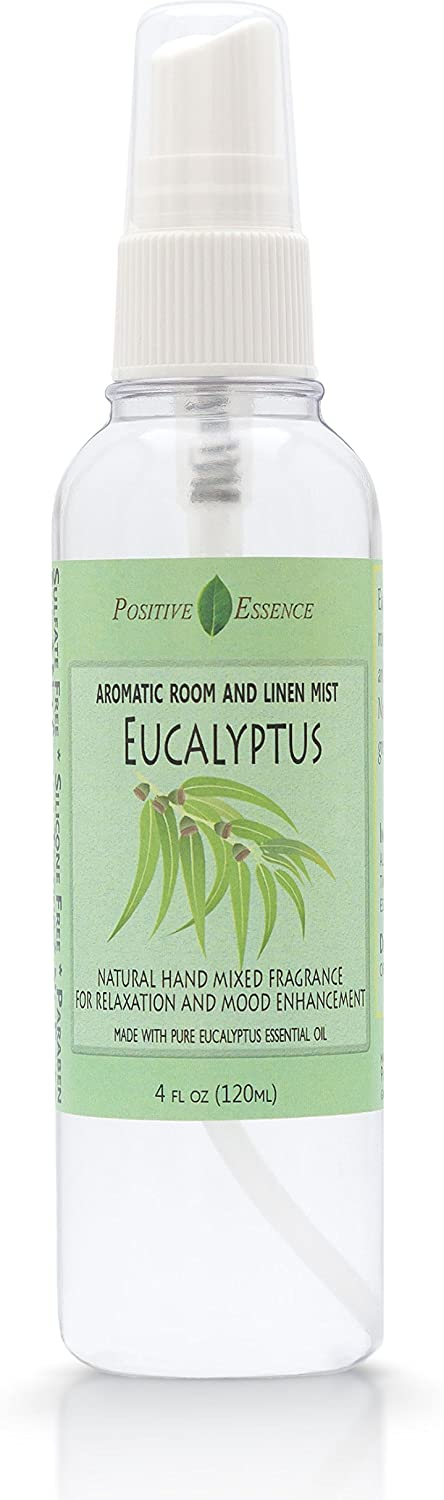Positive Essence Eucalyptus Linen and Room Spray, Natural Aromatic Mist Made with Pure Eucalyptus Essential Oil, Relax Your Body & Mind, Perfect as a Bathroom Air Freshener Odor Eliminator