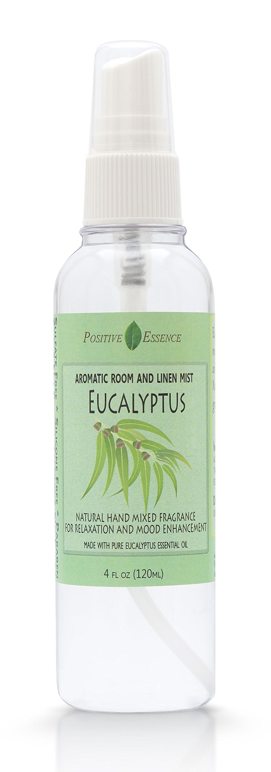Positive Essence Eucalyptus Linen and Room Spray, Natural Aromatic Mist Made with Pure Eucalyptus Essential Oil, Relax Your Body & Mind, Refreshing Air Freshener Odor Eliminator by Positive Essence