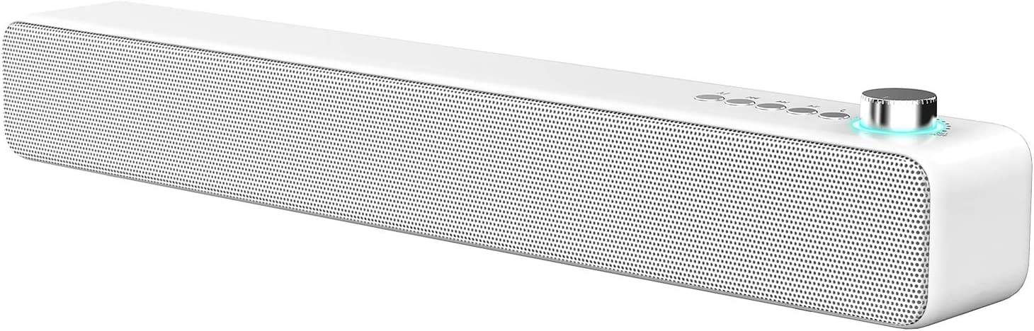 LENRUE Bluetooth Speaker, Speakers Bluetooth Wireless 5.0 with 10W Surround Sound Built-in Mic, Portable Speaker for Phone, iPad, Tablet, Laptop, Echo dot(White)