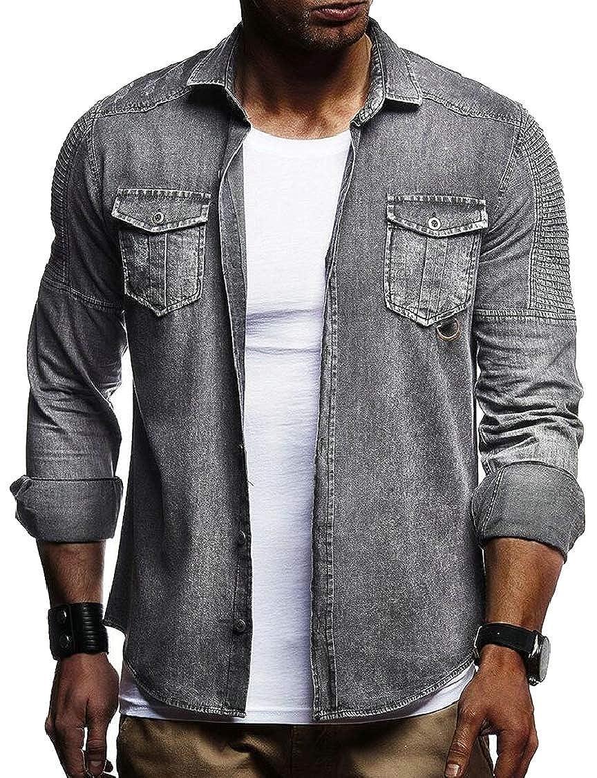 XQS Mens Fashion Denim Solid Color Long Sleeve Regular Fit Button Down Dress Shirts