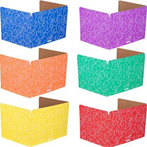 Really Good Stuff Standard Privacy Shields for Student Desks – Set of 12 - 6 Group Colors - Matte - Study Carrel Reduces Distractions - Keep Eyes From Wandering During Tests, Red, Blue, Green, Yellow, Orange & Purple With Stars & Swirls Pattern