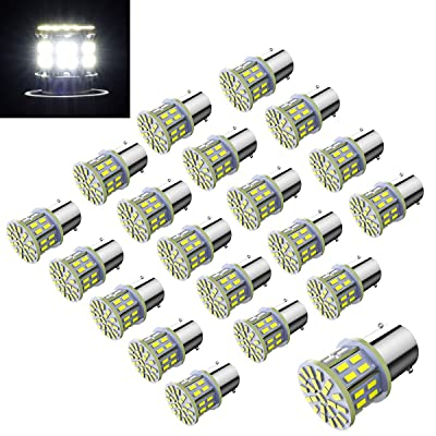Efoxcity 12V 1156 20 Pcs Bright 1156 1141 1003 50-SMD White LED Bulbs for Car Rear Turn Signal Lights Interior RV Camper: Automotive