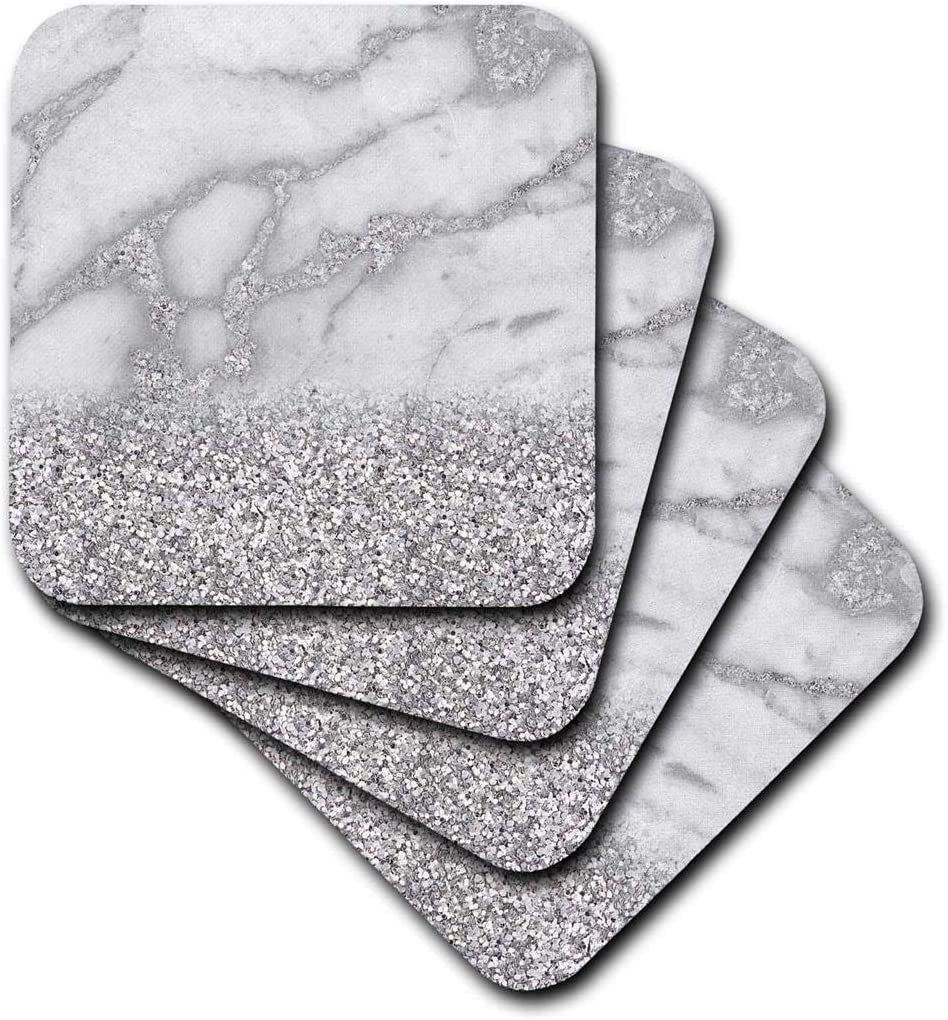3dRose Luxury Grey Silver Gem Stone Marble Glitter Metallic Faux Print, Set Of 8 Soft Coasters