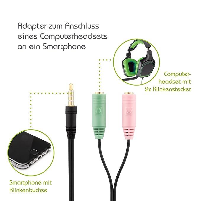 Adapter PC-Headset 2-mal 3,5-mm-Buchse an 4-poliger: Amazon.de ...