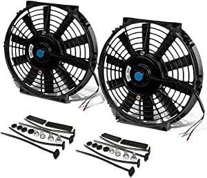 "DNA Motoring RAF-10+FMK-X2 2Pcs 10"" Inch Electric Radiator Cooling Fan kit (Black)"
