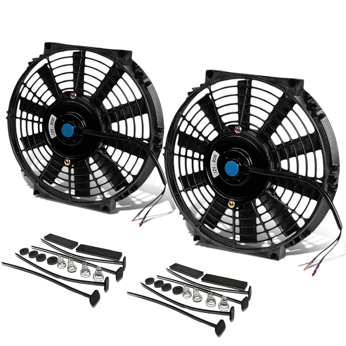 (Pack of 2) 10 Inch High Performance 12V Electric Slim Radiator Cooling Fan w/Mounting Kit - Black