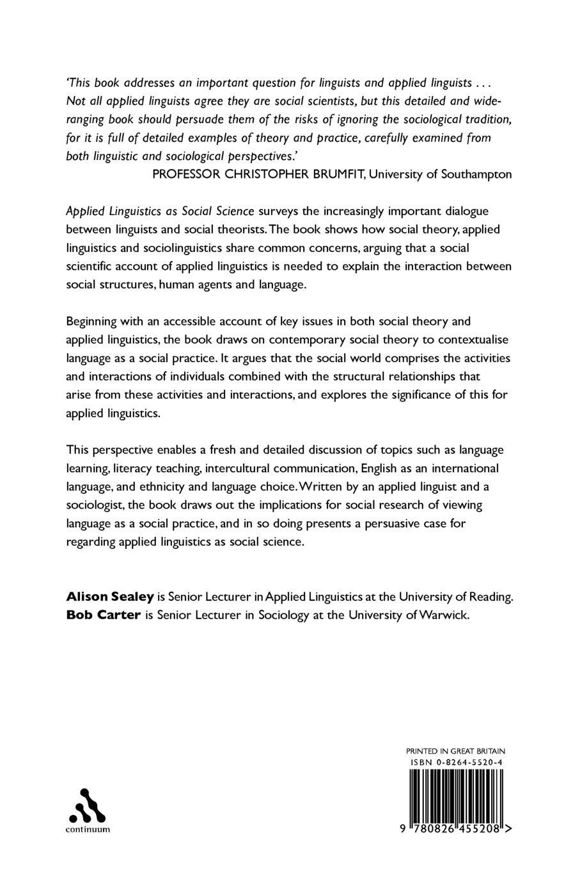 Applied Linguistics As Social Science Alison Sealey Bob Carter