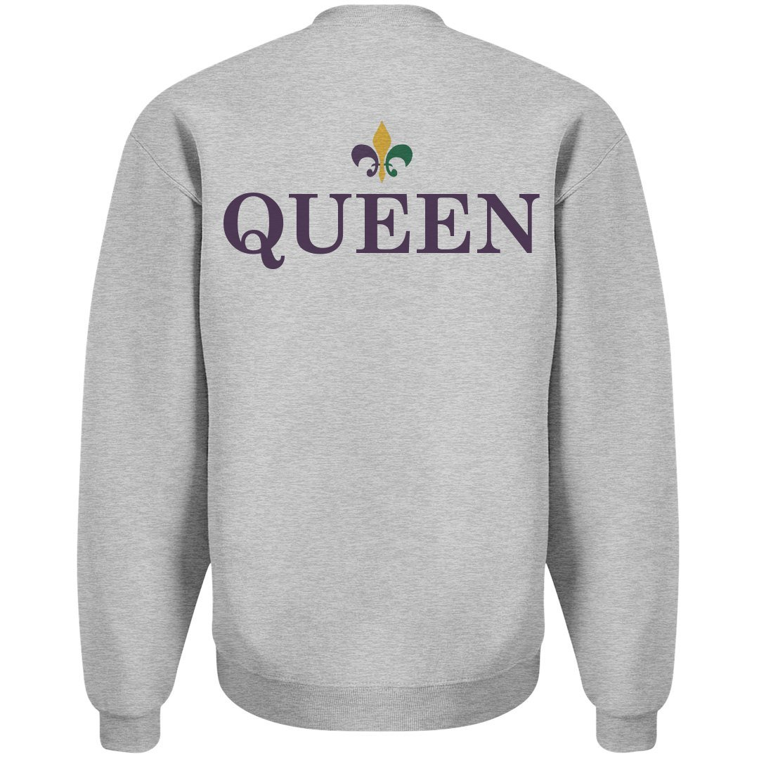 cb4d319d24 Amazon.com: Mardi Gras King Queen Fun Girl: Unisex Jerzees Crewneck  Sweatshirt: Clothing