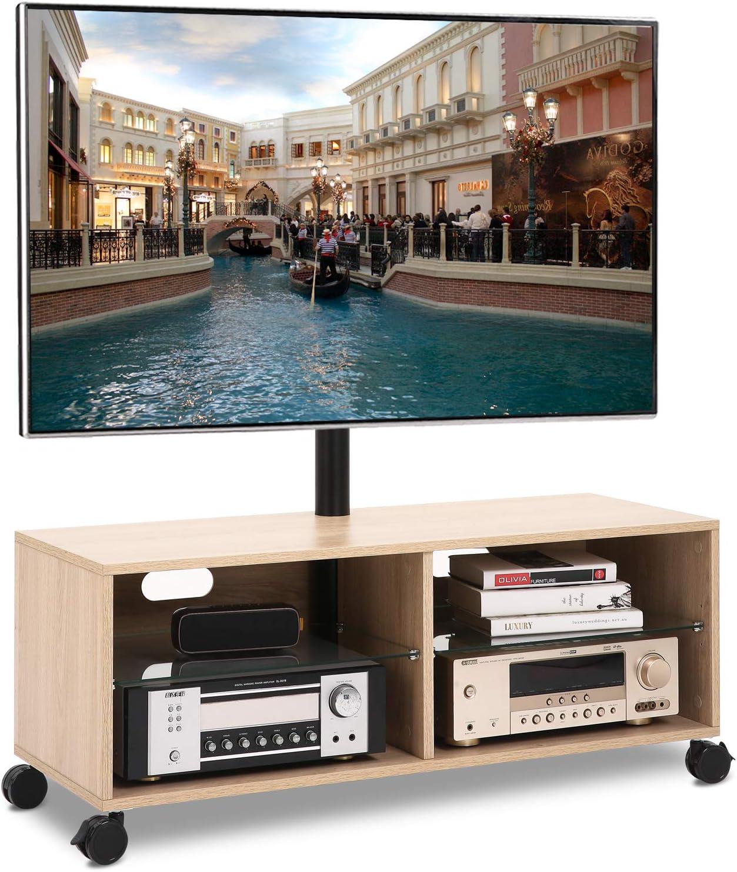 RFIVER Meuble TV Mobile Scandinave avec roulettes pour T/él/éviseurs et Rangement Bois Noyer TS5002