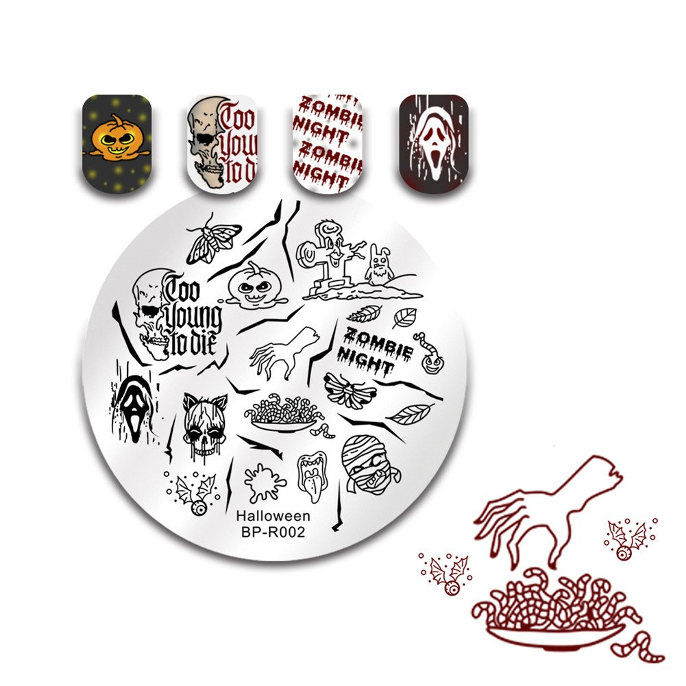BORN PRETTY Nail Art Stamp Templates Halloween Stamping Image Round Stamp Plate Skull Pumpkin Castle R003