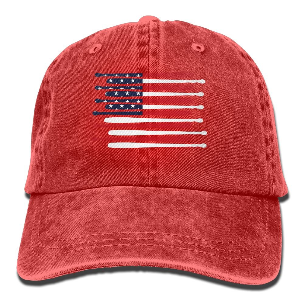 Baseball Bats In The USA Flag Trend Printing Cowboy Hat Fashion Baseball Cap For Men and Women Black