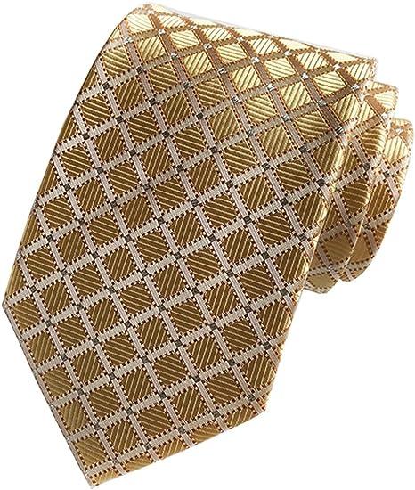 New Classic Striped Gold Dark Blue Orange JACQUARD WOVEN Silk Men/'s Tie Necktie
