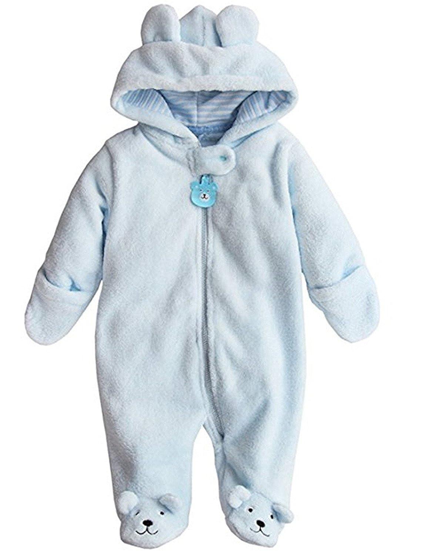e-youth Newborn Baby Boys Girls Cute Bear Winter Fleece Hoodie Romper Jumpsuit Outfits