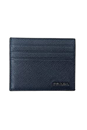 7a914bf850774b Amazon.com: Prada Saffiano Leather Credit Card Wallet Holder With Box (Black/Mercury  Saffiano): DealZ Zone