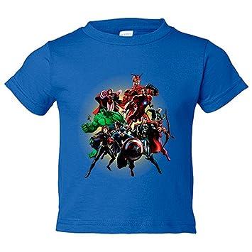 Camiseta niño Los Vengadores ilustración de superhéroes - Azul Royal, 3-4 años