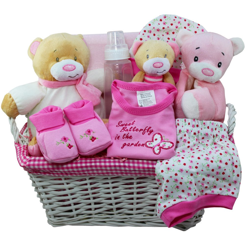 Sweet Baby Special Delivery Gift Basket with Teddy Bear, Pink Girls: Amazon.com: Grocery & Gourmet Food
