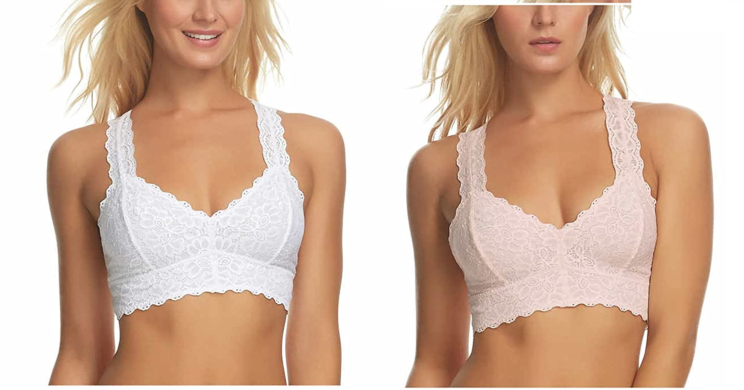 0384db52ba9a4 Felina Women s Lace Racerback Bralette (Pack of 2) - Multi -  Amazon.co.uk   Clothing