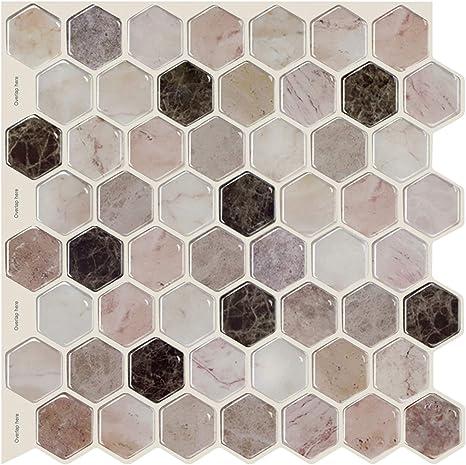 10x Adhesive Hexagon Wall Tile Floor Wall Paper Sticker Home Decor 5#