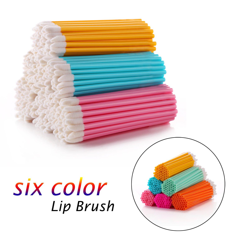 FAMILIFE 300Pcs/Set Disposable Lip Brushes Makeup Brush Lipstick Lip Gloss Wands Applicator (Black)