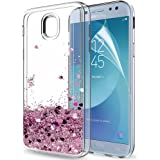 LeYi Galaxy J5 2017 Case with Screen Protector, Girl Women 3D Glitter Liquid Moving Cute Personalised Clear Transparent Silicone Gel TPU Shockproof Phone Cover for Samsung J5 2017 Rose Gold (Pink)