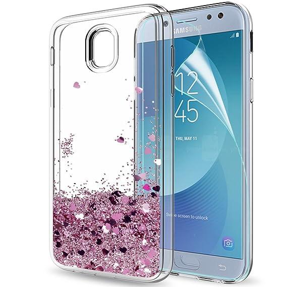 LeYi Hülle Galaxy J5 2017 Glitzer Handyhülle mit HD Folie Schutzfolie,Cover TPU Bumper Silikon Flüssigkeit Treibsand Clear Sc