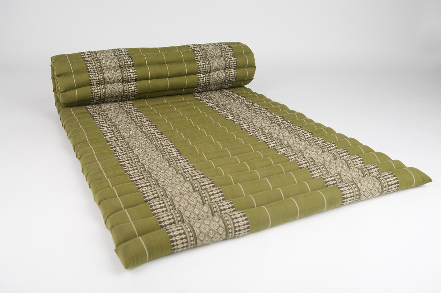 Design by UnseenThailand Roll Up Thai Mattress, Kapok Fabric, Premium Double Stitched, 79x30x2 inches. (Green)