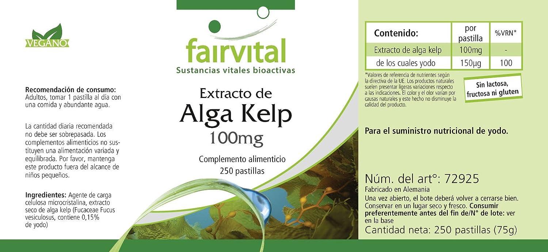 Kelp 100mg, natürliche Jod-Quelle mit 150mcg Jod pro Tablette, vegan ...